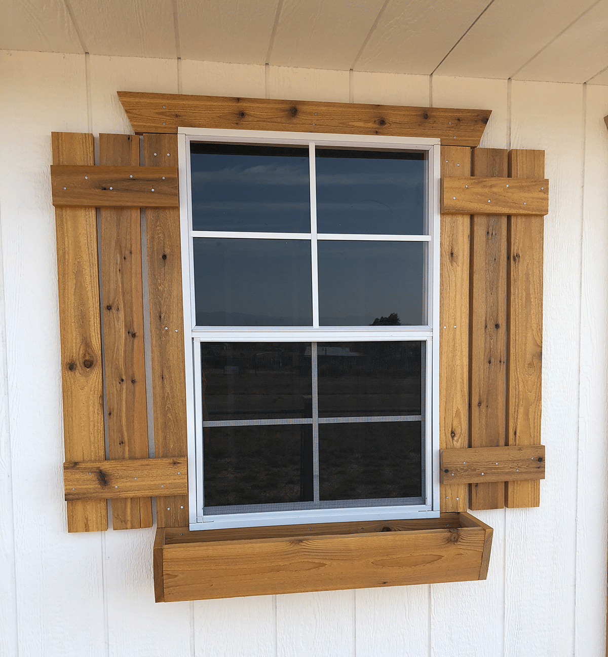 Yoder's Storage Sheds | Custom Options | Window with Shutters and Flower Box